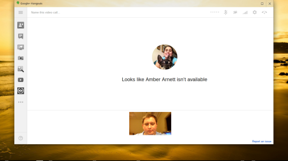 Screenshot of automatically created video hangout referenced above.